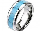COI Tungsten Carbide Wedding Band Ring With Turquoise - TG2438