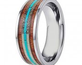COI Tungsten Carbide Wood Antler Turquoise Ring - TG3204AAA