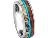 COI Tungsten Carbide Turquoise Wood Antler Ring - TG3395AAA