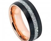 COI Tungsten Carbide Two Tone Ring With Meteorite-TG3449AA
