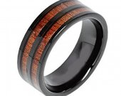 COI Black Tungsten Carbide Wedding Band Ring With Wood-TG3475AA