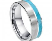 COI Tungsten Carbide Wedding Band Ring With Turquoise - TG3496A