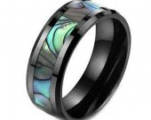 COI Black Tungsten Carbide Ring With Mother of Pearl - TG3605