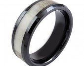 COI Black Tungsten Carbide Antler Wedding Band Ring - TG3712