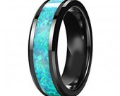 COI Tungsten Carbide Opal Wedding Band Ring - TG3827AA