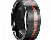 COI Black Tungsten Carbide Ring With Wood - TG3847AA