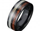 COI Black Tungsten Carbide Deer Antler Ring - TG3882AA