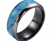 COI Black Tungsten Carbide Ring With Turquoise Inlays - TG3887