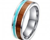 COI Tungsten Carbide Ring With Wood & Turquoise - TG3988