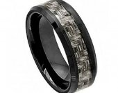 COI Black Tungsten Carbide Ring With Carbon Fiber - TG4002