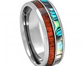 Tungsten Carbide Ring With Wood & Mother Of Pearl - TG4035