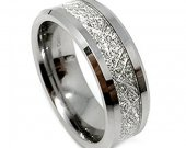 COI Tungsten Carbide Wedding Band Ring With Meteorite- TG4190