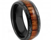 COI Tungsten Carbide Wedding Band Ring With Wood - TG4198AA