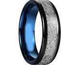 COI Tungsten Carbide Two Tone Ring With Meteorite - TG4521