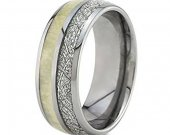 COI Tungsten Carbide Antler Meteorite Wedding Band Ring-TG4689