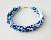 Bracelet Gzhel, Beaded Crochet Bracelet
