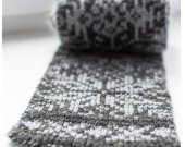 Knitted scarf, gray scarf, double face knitting, wool scarf, winter scarf, jacquard, thick scarf, gift idea, Norwegian star