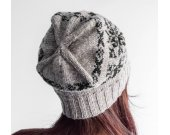 Grey slouchy hat, wool hat women, sock hat, knit beanie, knit hat, toboggan hat, gift idea, present, jacquard, skully hat, ladies hat