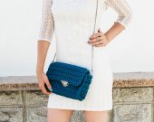 Handmade crocheted handbag olor of the moray eels