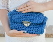 Handmade crocheted handbag color of the jeans