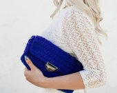 Handmade crocheted handbag color of the blue