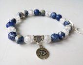 Blue Sodalite Gem Beads 8 mm - Snow Cracked Round White Crystal Quartz  - Tibetan Silver - Stretch Bracelet - Healing Bracelet