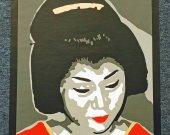 Original Art Geisha Gray T-Shirt Unisex Medium Tee Gildan Cotton Blend