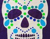 Glow in the Dark Skull T-Shirt Unisex Medium Purple Tee