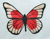 Metallic Butterfly Original Art T-Shirt Ladies Large White Gold Red 100% Cotton