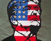 Trump Flag Original Art Graphic T-Shirt Unisex Medium Gray Patriotic American President