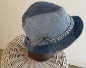 men's upcycled fedora hat denim