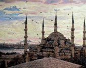 Embroidered cross stitch Sultanahmet mosque