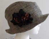 Women's linen fedora hat, brown tones handmade