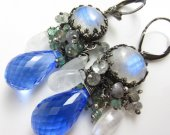 Cool Water Earrings - Swiss Blue Topaz, Sapphire, Moonstone, and Emerald in Sterling Silver