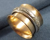 14k Goldfill and Sterling Floral Spinner Ring