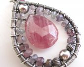 Pink Sapphire and Multi-hued Spinel Wrapped in Sterling Silver Necklace
