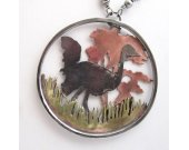 Ostrich in the Savanna Necklace - Sterling Silver, Brass and Copper Hand-pierced Scenic Necklace