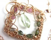 Watermelon Rose Necklace - Prasiolite, Watermelon Tourmaline and Rose Gold Filled Wrapped Necklace