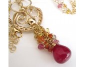 Ruby Sunset Necklace - Sapphire and Ruby Cascade in Gold