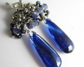 Midnight Glitter Earrings - Dark Blue Goldstone with Sapphire and Tanzanite in Silver