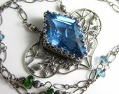 When a Bead isn™t a Bead Necklace - London Blue Topaz, Sterling Silver and Chrome Diopside
