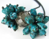 Smokey Quartz and Turquoise Necklace in Sterling Silver