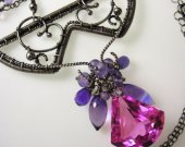 The Sunday Fiesta Necklace - Pink Topaz, Amethyst in Sterling and Fine Silver Wrapped Necklace