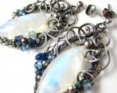 Winter Frost - Moonstone Marquise, Silver, and Gemstone Earrings