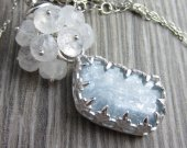 Cummulus Cloud Necklace - Kyanite in Sterling Silver with a Moonstone Cloud