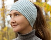 Knitted head bandage blue
