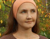 Knitted head bandage peach color