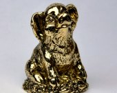 Cute pig seated - a bronze miniature, pig figurine, pig metal statuette, pig for New year