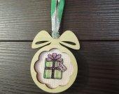 Holiday decor, Christmas decor, wall decor,home decor, stocking stuffer, Christmas gift, wood gift, cross stich embroidery