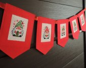 Christmas Gnome Banner Garland Bunting Festive Decor Holiday Red felt garland Ornament Christmas Winter decorat
